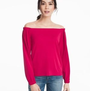 WHBM Off The Shoulder Pink Crepe Top Blouse